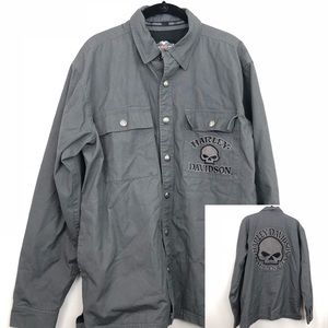 Harley Davidson Men's Gray Skull Snap Jacket